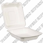 8x8x3 Compostable Clamshell Container