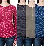 Ladies Seg'ments Long Sleeve Henley Shirt