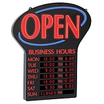 NEWON Lighted Open + Business Hours Sign